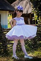 Нарядное детское платье бело-сиреневое