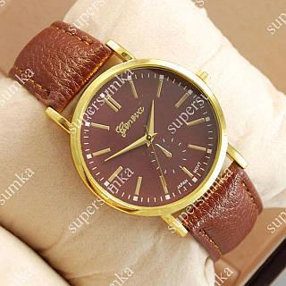 Надежные наручные часы Geneva Brown/Gold/Brown 1042