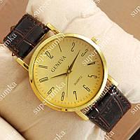 Элегантные наручные часы Geneva Brown/Gold/Gold 1051