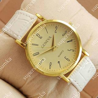 Яркие наручные часы Geneva White/Gold/Gold 1053