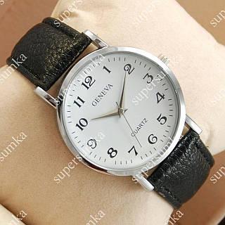Деловые наручные часы Geneva Black/Silver/White 1055