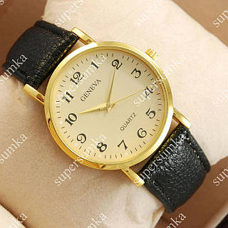 Кварцевые наручные часы Geneva Black/Gold/Gold 1057