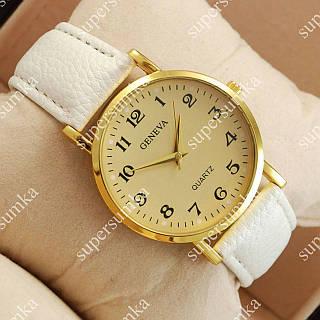 Стильные наручные часы Geneva White/Gold/Gold 1058