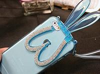 Голубой силиконовый зайчик со складными уши и со стразами для iPhone 6