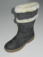 Зимние женские сапоги на толстой подошве под замшу серые размеры 36, 38,41
