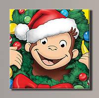 """Картина на холсте  """"Новогодняя обезьянка"""""""