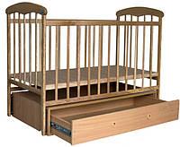 Кроватка Наталка с маятником и ящиком светлая