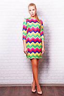 Разноцветное платье с геометрическим принтом Лея-1