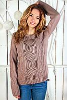 """Тёплый ажурный свитер """"Софи"""", светло-коричневый"""