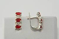 Серебряные серьги с рубиновыми камнями