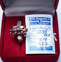 Красивое серебряное кольцо с камнями гранат 16.5 размер