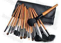 Набор натуральных кистей для макияжа 16 штук + чехол