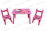 Детский столик M 0294 «Hello Kitty» с двумя стульчиками Детские подарки Игрушки для девочек Столы для детей