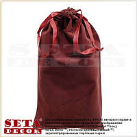 Бордовый подарочный мешок 17х30 см из иск. бархата для корпоративных подарков.