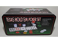 Набор для игры в покер в металлической упаковке 200 фишек + 2 колоды карт + полотно I3-96 настольный