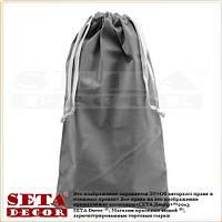 Серый подарочный мешок 17х30 см из иск. бархата для корпоративных подарков.