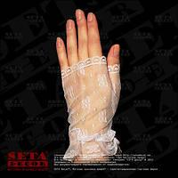 Белые гипюровые перчатки митенки короткие без пальцев