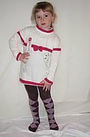 Туника вязаная белая с красной отделкой на девочку от 4 до 9 лет Турция