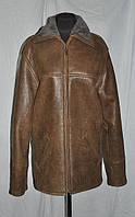 Дубленка из овчины мужская длина 65 см коричневая 44р 46 48