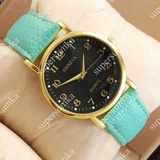 Яркие наручные часы Geneva Turquoise/Gold/Black 1060