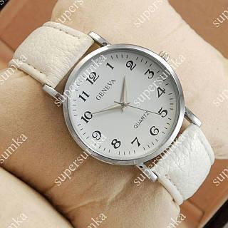 Стильные наручные часы Geneva White/Silver/White 1061