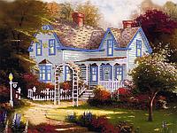 """Схема для вышивания бисером на подрамнике (пейзаж) """"Загородный дом"""""""