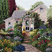 """Схема вышивки для начинающих бисером на подрамнике (пейзаж) """"Летний сад"""""""