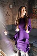 Женское фиолетовое вечернее платье с оборками