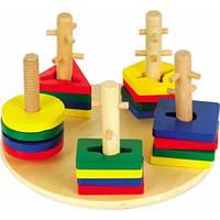 """Деревянная игрушка-пирамидка Логический круг ТМ """"Игрушки из дерева"""" Д019"""