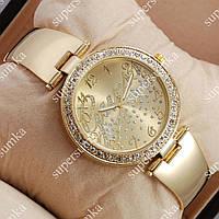 Необычные наручные часы Guess Big crystal Gold/Gold 1108