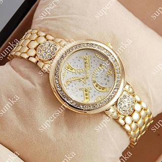 Модные наручные часы Guess crystal Gold/White 1110
