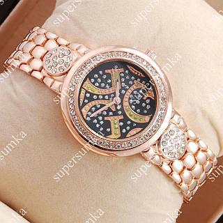 Практичные наручные часы Guess crystal Pink Gold/Black 1115