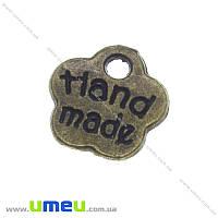 Подвеска металлическая Цветочек «Hand made», Античная бронза, 8х8 мм, 1 шт (POD-001272)