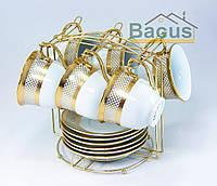 Сервиз чайный с золотом (12 пр./наб.) на металлическом стенде (F4G-6GMS-002)
