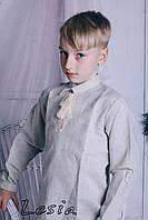 Вишиванка для хлопця льон Зірочка беж (1-3 років)