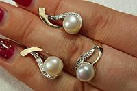 Серебряный комплект из золотыми пластинами и жемчугом - кольцо и серьги с жемчугом
