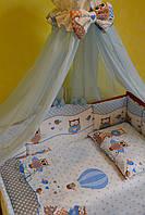 """Постельный набор в детскую кроватку для мальчика """"Совята""""  голубой"""
