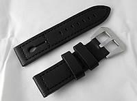 Ремешок к часам ALFA, кожаный, матовый, анти-аллергенный, цвет черный с петелькой