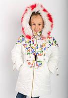 Куртки для детей. Белое пальто с принтованым рисунком. Зимняя куртка для девочки. Зимние куртки для детей.