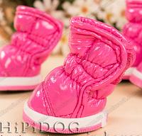 Дутики меховые розовые