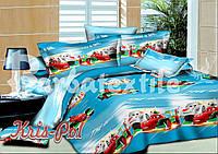 Детский комплект постельного белья Тачки-3 3Д полуторный, ранфорс 100% хлопок. (арт.4639)