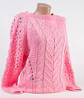 Кофта женская с бантом розовая нарядная р.48-52