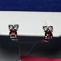Детские серебряные серьги с цирконием Сова 2102в
