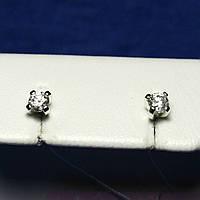 Детские сережки серебро гвоздики с камнями 2105