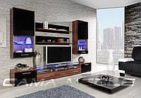 Мебельная стенка Cama II слива / черный глянец