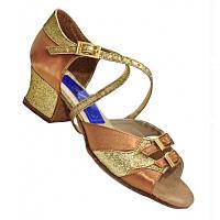 Танцевальные туфли для девочек (цвет: бежевый атлас + золото)