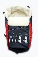 Детский конверт-подстилка в санки (красный+синий)