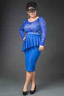 """Нарядное платье """"Moya"""" с асимметричной баской (большие размеры)"""