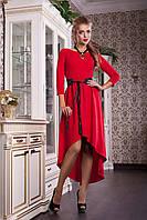 Красное женское платье с черным поясом