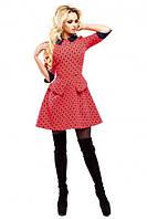 Платье Рубашечный воротничёк красное из итальянской костюмки